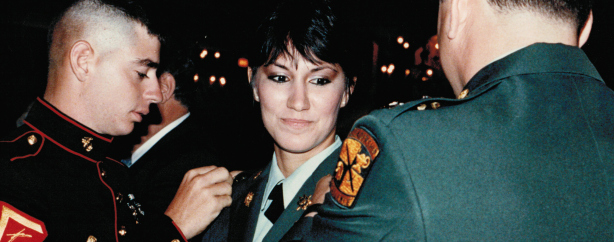 Dr. Irene Zoppi being promoted to 2nd Lieutenant in the U.S. Army in 1987. (Courtesy Irene Zoppi)