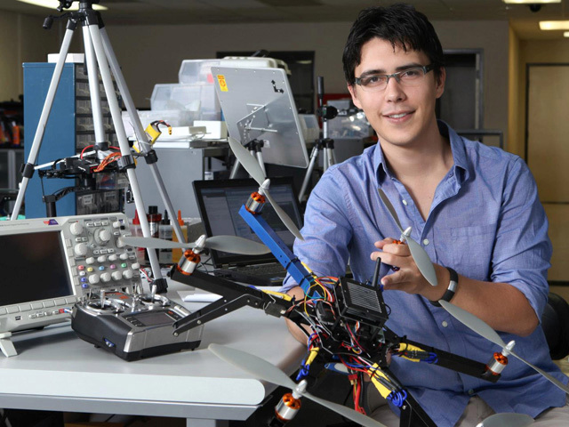 Jordi Muñoz with one of his drones. (Courtesy 3D Robotics)