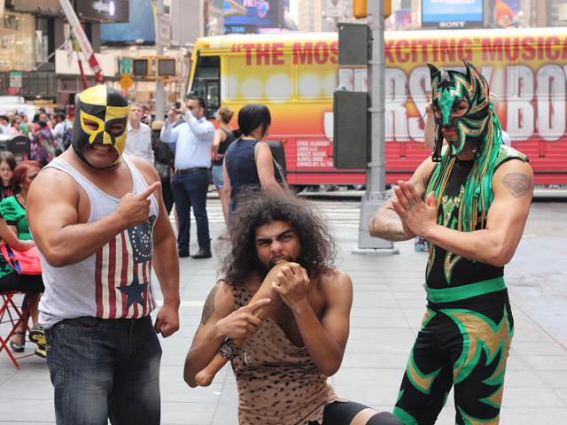 Luchadores in New York City on August 21, 2013. Pequeño Pierroth (left), Caveman (center) and Mascara Celestial (right). (Photo/Kristina Puga)