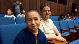 Teacher Oscar Ramos takes 5th and 6th graders, including José Anzaldo, to visit UC Berkeley, part of the 'East of Salinas' documentary.  (Courtesy ITVS)
